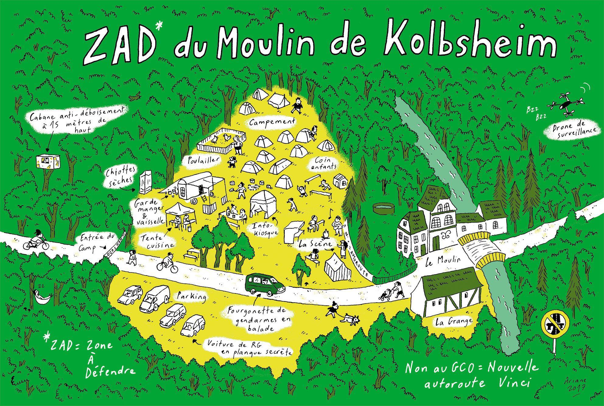 carte de la ZAD du Moulin