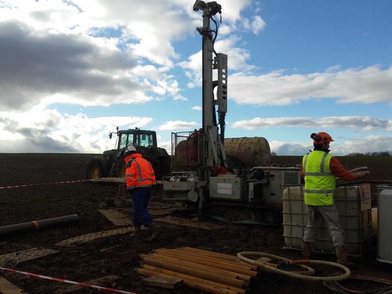 travaux préparatoires GCO - forage à proximité du Spot de Kolbsheim